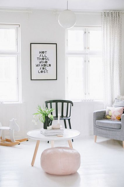 round coffee table from Hay, black white, pink   A SCANDINAVIAN HOME WITH FEMINE TOUCHES by the style files, via Flickr   image by Tina Fussell