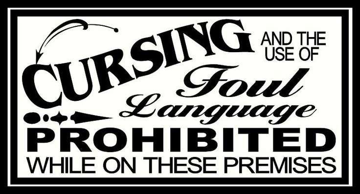 vinyl wall decal Retro vintage sign Cursing and the use of