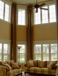 Long drapes accent the high ceiling | Family Room | Pinterest