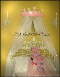 Crib Canopy Bed Princess Crown Light Pink Jeweled Marabou ...