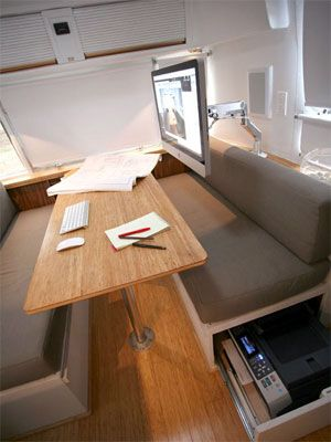 Gypsy Living Traveling In Style| Serafini Amelia| Movable and Adjustable Spaces: The Airstream Kitchen Office~ brilliant!