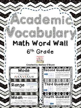 Math Word Wall 6th Grade Common Core Academic Vocabulary