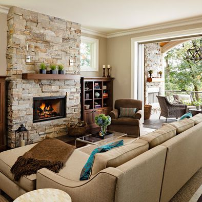 Built-in Shelves Around Stone Fireplace Design, Pictures, Remodel, Decor and Ideas