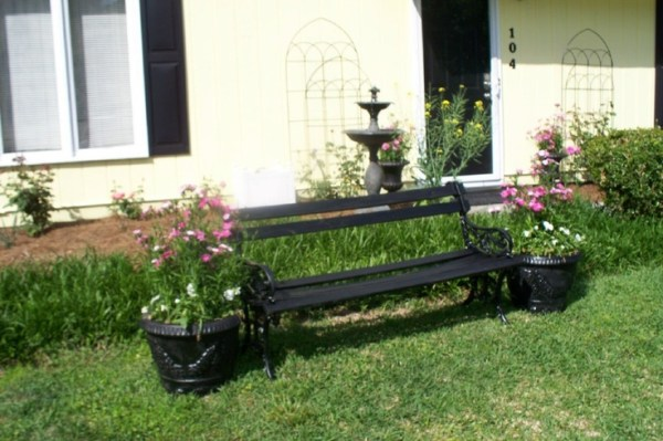 bench in front yard