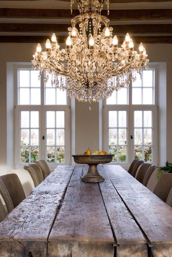 Chandelier dining room table   Elegant Dining Rooms