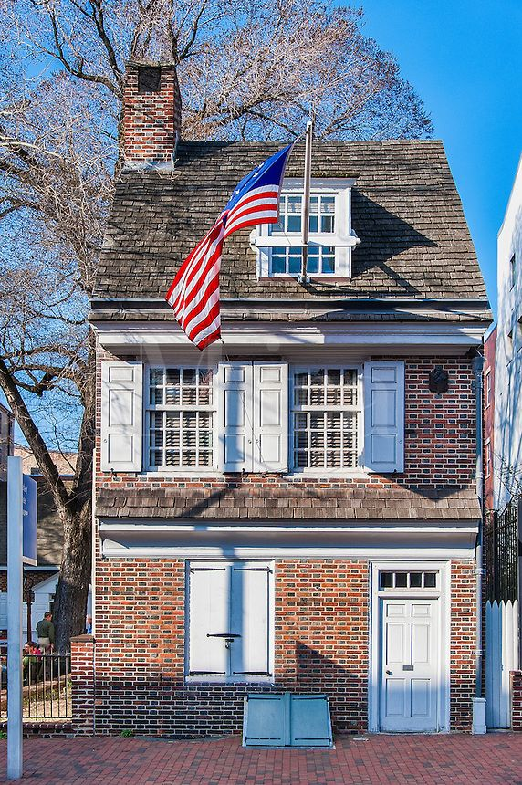Betsy Ross house, Philadelphia, Pennsylvania, USA  (I visited her home and it is so tiny, a wonderful little courtyard that now people play the fife, are talking history and even women working a quilt..)  Betsy Ross 5th great aunt, by marriage to John Ross.