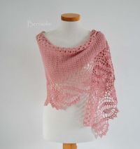 Pink merino crochet scarf / shawl lace K10