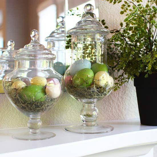 композиция с пасхальными яйцами украшение стола на пасху