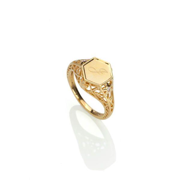 Monogram Signet Ring in Gold