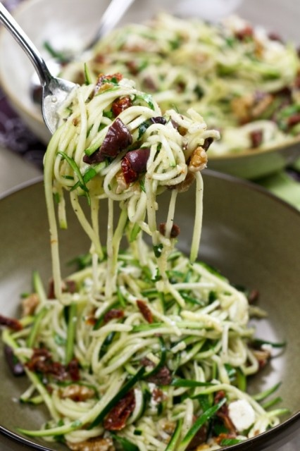 Zucchini Carpaccio, Spaghetti Style (zucchini, sundried tomatoes,  walnuts, kalamata olives, garlic, salt,  black pepper, extra-virgin olive oil, goat cheese, fresh parlsey)