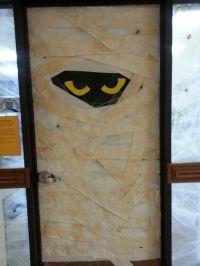 Halloween mummy door decorating | Door decorations | Pinterest