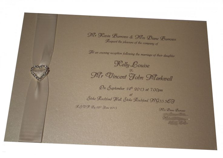 Cream and Ivory wedding invitation with silver diamante embellishment www.lilguy.co.uk