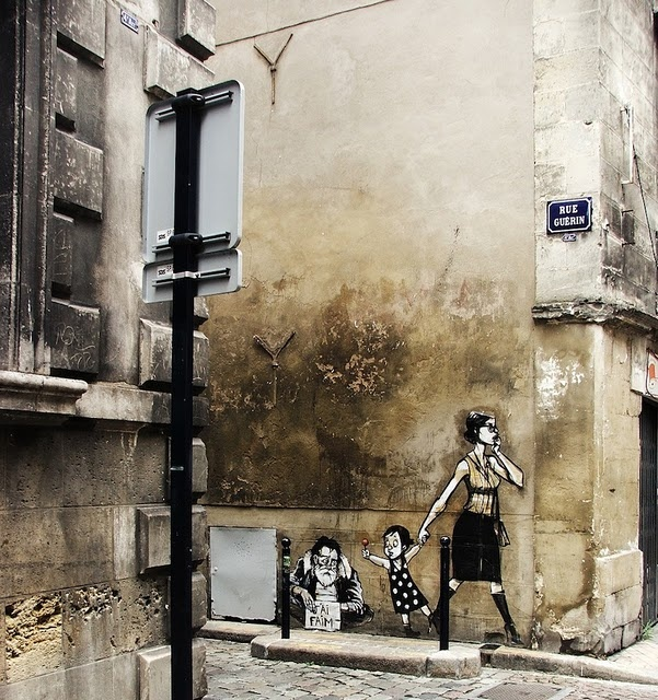 "french street art...the homeless man signs says ""J'ai faim,"" which means ""I'm Hungry""......#Vero"