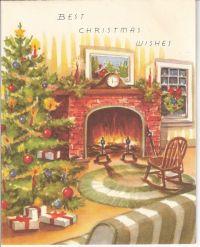 Vintage Christmas Card - Fireplace Scene