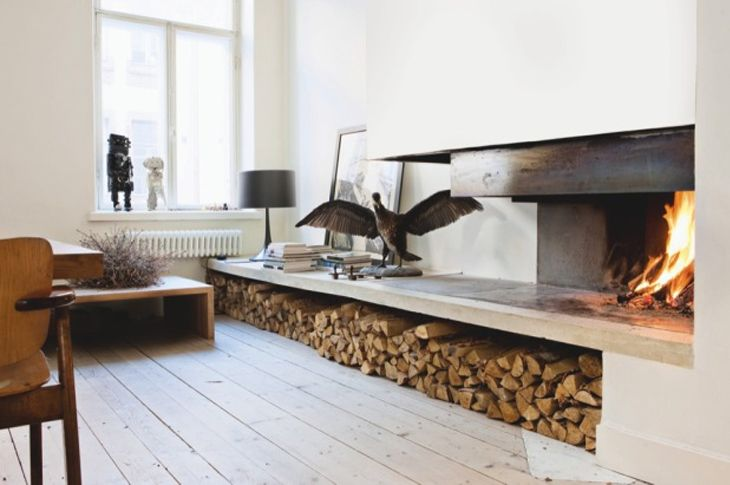 Where To Store Wood For Fireplace Scandinavian Fireplace & Log Storage