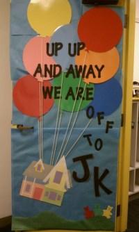 Up-themed door decoration. | Kindergarten Classroom ...