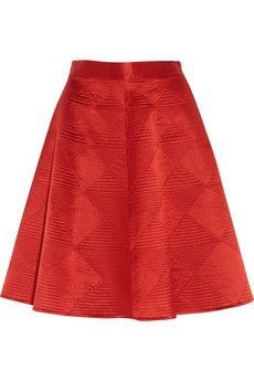 Temperley London Nyla quilted silk-satin skirt  | THE OUTNET