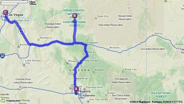 Map Vegas And Grand Canyon Pheonix
