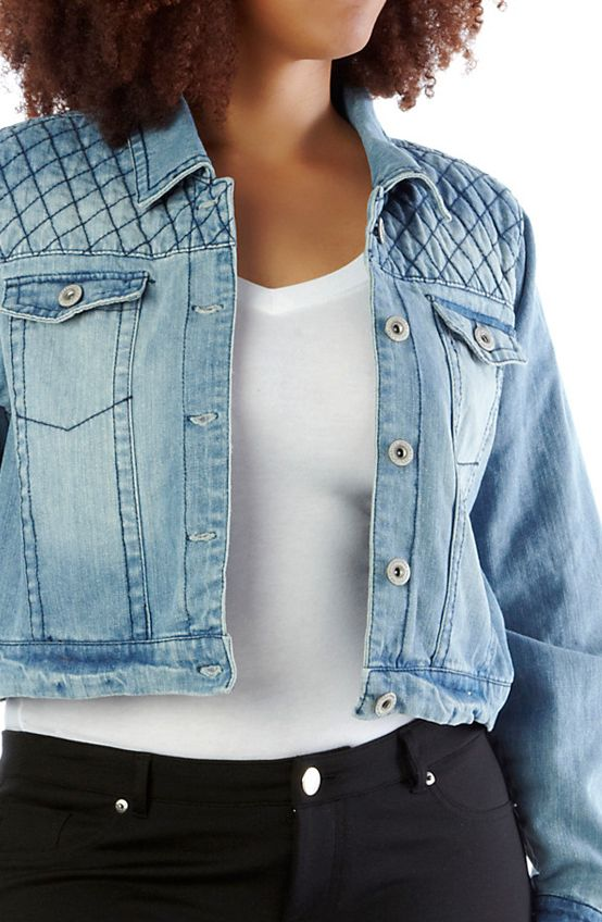 Plus-Size Quilted-Shoulder Denim Jacket. #plus #quilted #jacket #jeanjacket #denim #outerwear