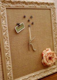 shabby chic burlap pin board