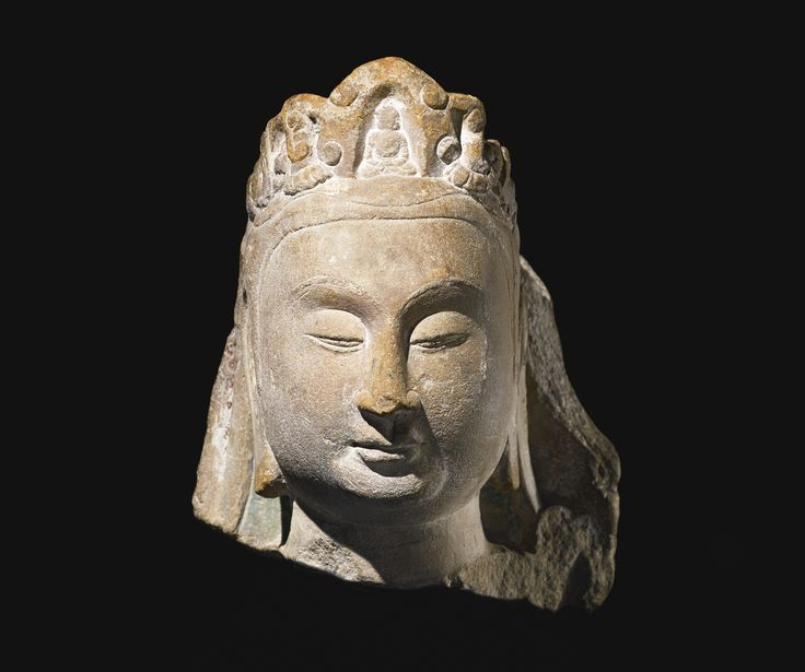 A stone head of Guanyin, China, Sui Dynasty