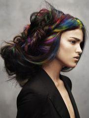 dark hair. rainbow streaks. hair