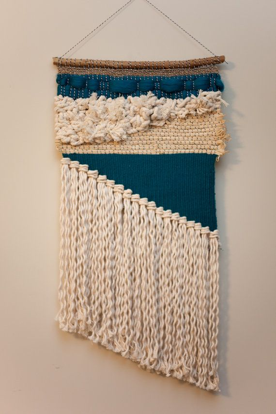 teal asymmetrical / tapestry wall hanging / weaving with