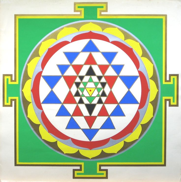 Sri Yantra with correct traditional colors according to Harish Johari.