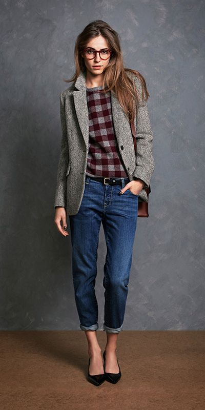 Wide plaid + boyfriend jeans