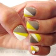 yellow gray gel nail art