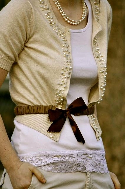 beaded sweater, lace trimmed top & cute belt