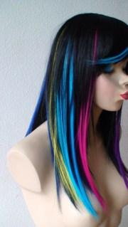 rainbow ombre black wig. long straight