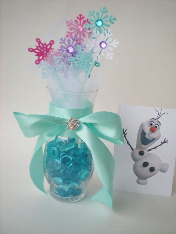 Frozen snowflake centerpiece, snowflakes and tulle, high quality rhinestone embellishment-  inspired by Disney's Frozen movie