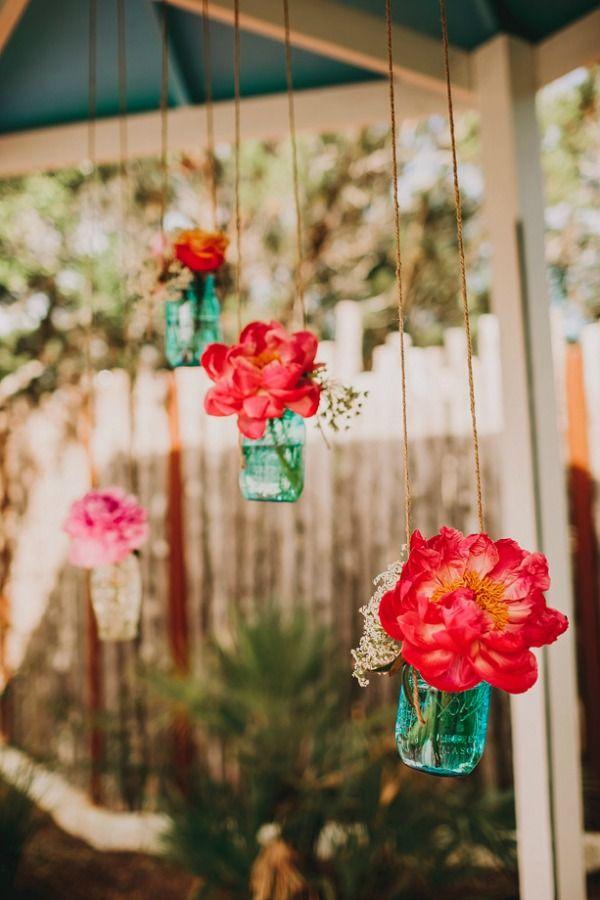 hanging floral ceremony decor