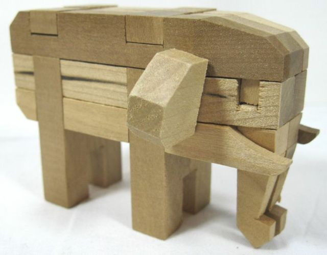 Vintage Toy Wood Puzzle Elephant Japan With Instructions