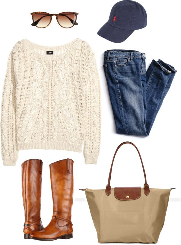 preppy-fairytale:  cozy casual. by sarahmay42 featuring a folding tote bag ❤ liked on PolyvoreHM cotton sweater, $31 / Victoria's Secret slim jeans / Frye low heel leather boots / Longchamp folding tote bag / Polo Ralph Lauren embroidered hat, $47 / J.Crew wayfarer style glasses