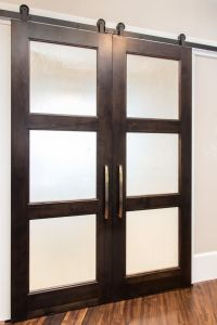 Glass panel sliding door