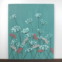 Wall Art for Girls Room - Teal and Pink Flower Painting ...