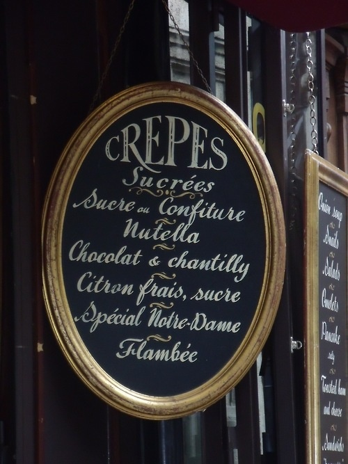 Crepes - sweet with jam, nutella, chocolate and chantilly cream, fresh lemon and suga, Notre Dame special, flambée