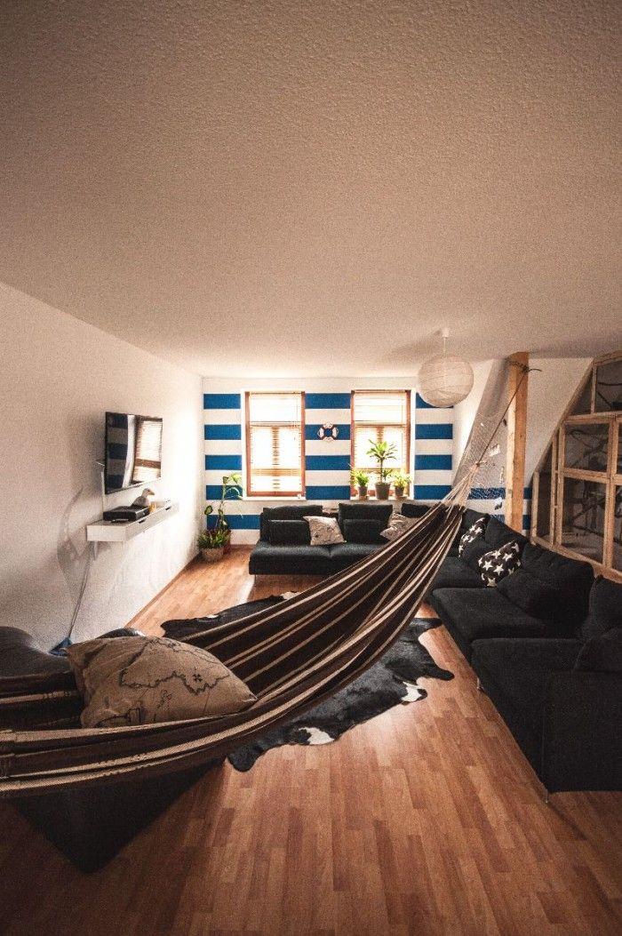 Living Room with Hammock  Precurs casetta  Pinterest
