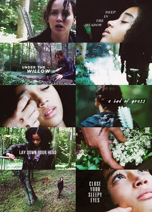 "The Hunger Games - Rue's death    ""Deep in the meadow, under the willowA bed of grass, a soft green pillowLay down your head, and close your sleepy eyesAnd when again they open, the sun will rise."""