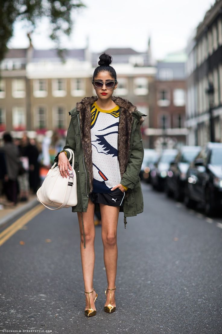 chic muse Topshop parka, 3.1Phillip Lim sweater, Puma shorts, Christian Louboutin heels, Linda Farrow x Prabal Gurung sunglasses, Givenchy bag (photo via Stockholm StreetStyle)