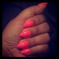 Short orange stiletto nails   Nails   Pinterest