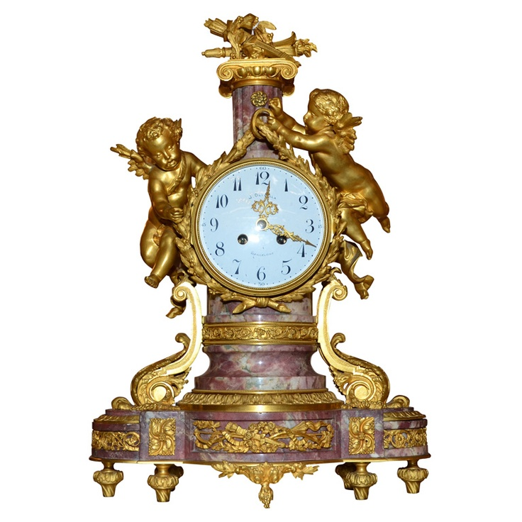 Gorgeous Louis XVI Style Marble & Gilded Bronze Clock  Spain  1860