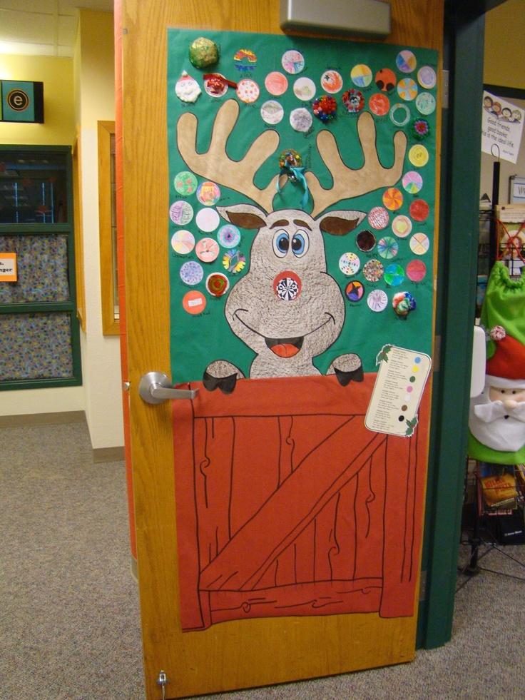 santas reindeer stable door decoration