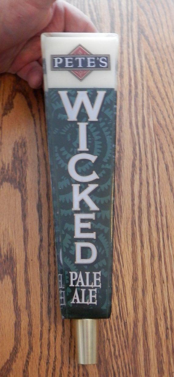 "vintage ""Pete's Wicked pale ale green beer tapper handle"