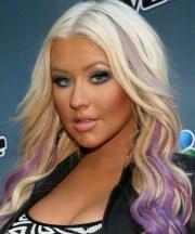 purple streaks hair