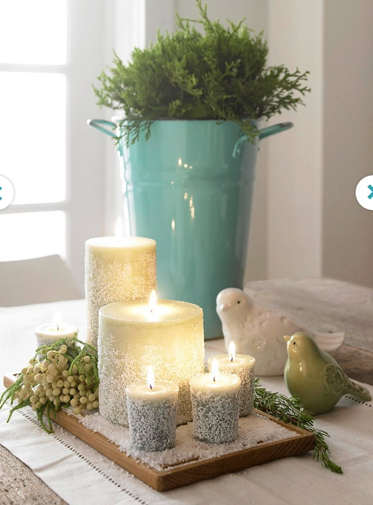 DIY: Add faux snow to candles for a new look.