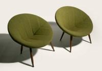 50's mid century danish modern circular pod lounge chairs ...