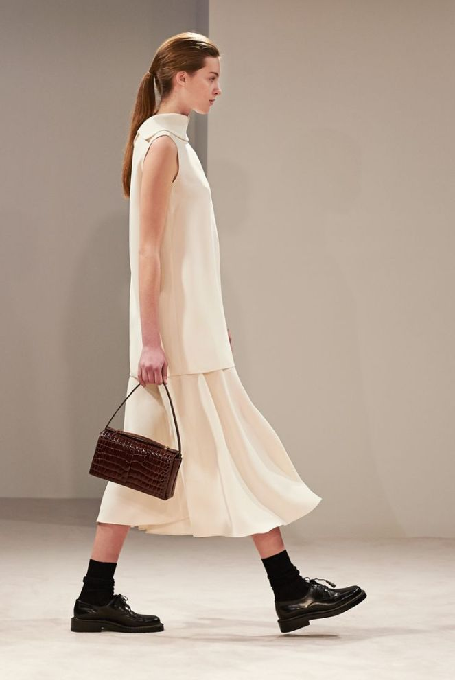 The Row fall 2014 rtw all white dress black oxfords snakeskin bag
